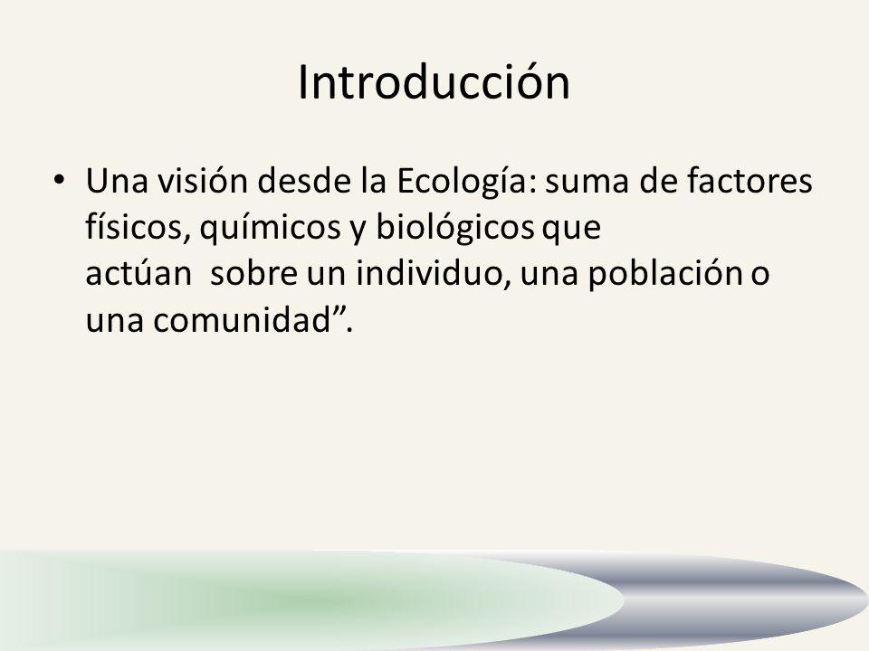 Introducción Una visión desde la Ecología: suma de factores físicos, químicos y biológicos que actúan sobre un individuo, una población o una comunida