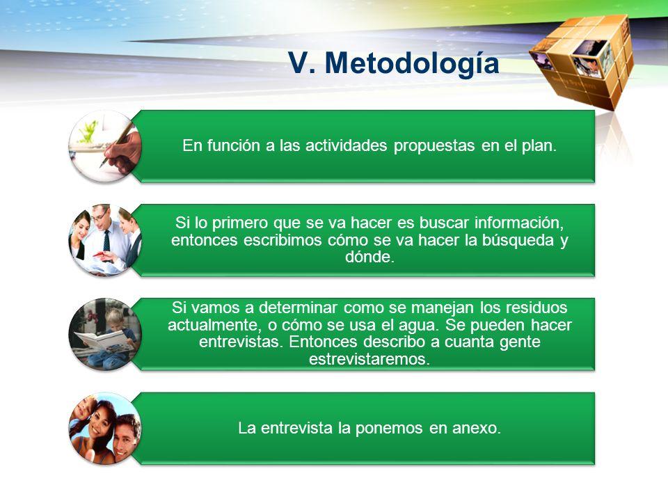 V. Metodología En función a las actividades propuestas en el plan. Si lo primero que se va hacer es buscar información, entonces escribimos cómo se va