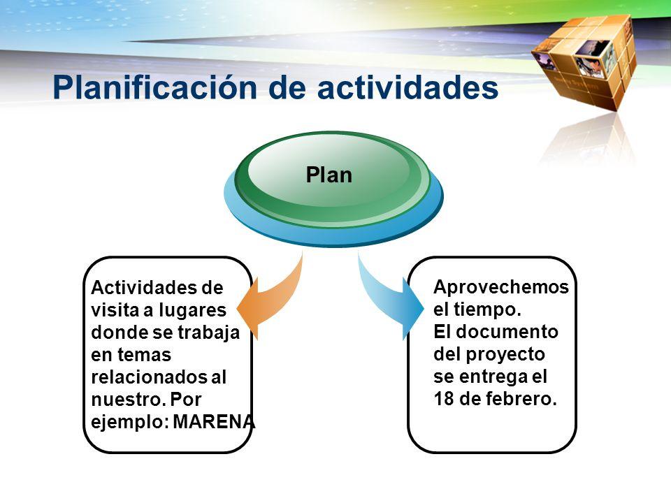 Planificación de actividades Actividades de visita a lugares donde se trabaja en temas relacionados al nuestro. Por ejemplo: MARENA Plan Aprovechemos