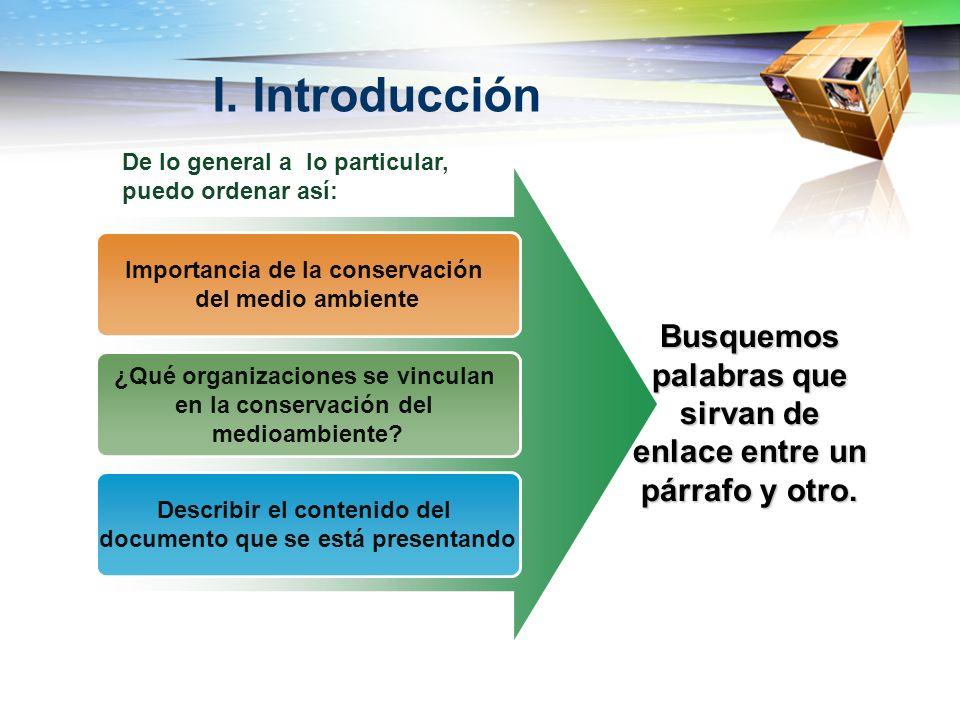 I. Introducción Importancia de la conservación del medio ambiente ¿Qué organizaciones se vinculan en la conservación del medioambiente? Describir el c