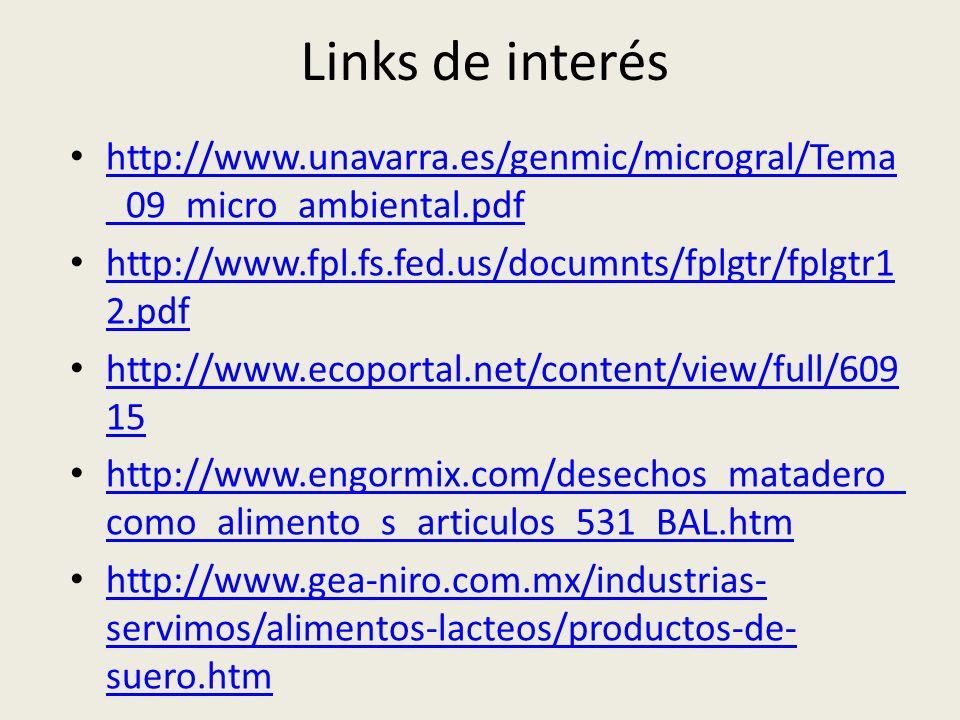 Links de interés http://www.unavarra.es/genmic/microgral/Tema _09_micro_ambiental.pdf http://www.unavarra.es/genmic/microgral/Tema _09_micro_ambiental