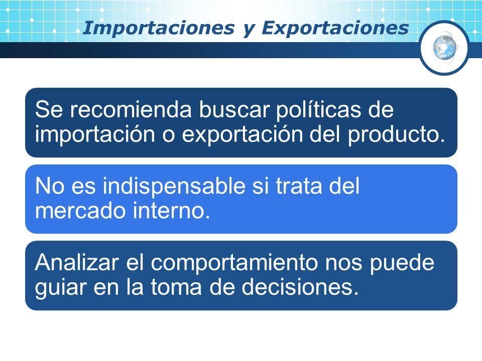 Importaciones y Exportaciones Se recomienda buscar políticas de importación o exportación del producto. No es indispensable si trata del mercado inter