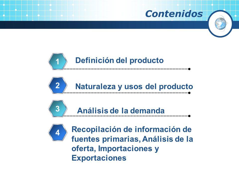 Contenidos Definición del producto 1 Naturaleza y usos del producto 2 Análisis de la demanda 3 Recopilación de información de fuentes primarias, Análi