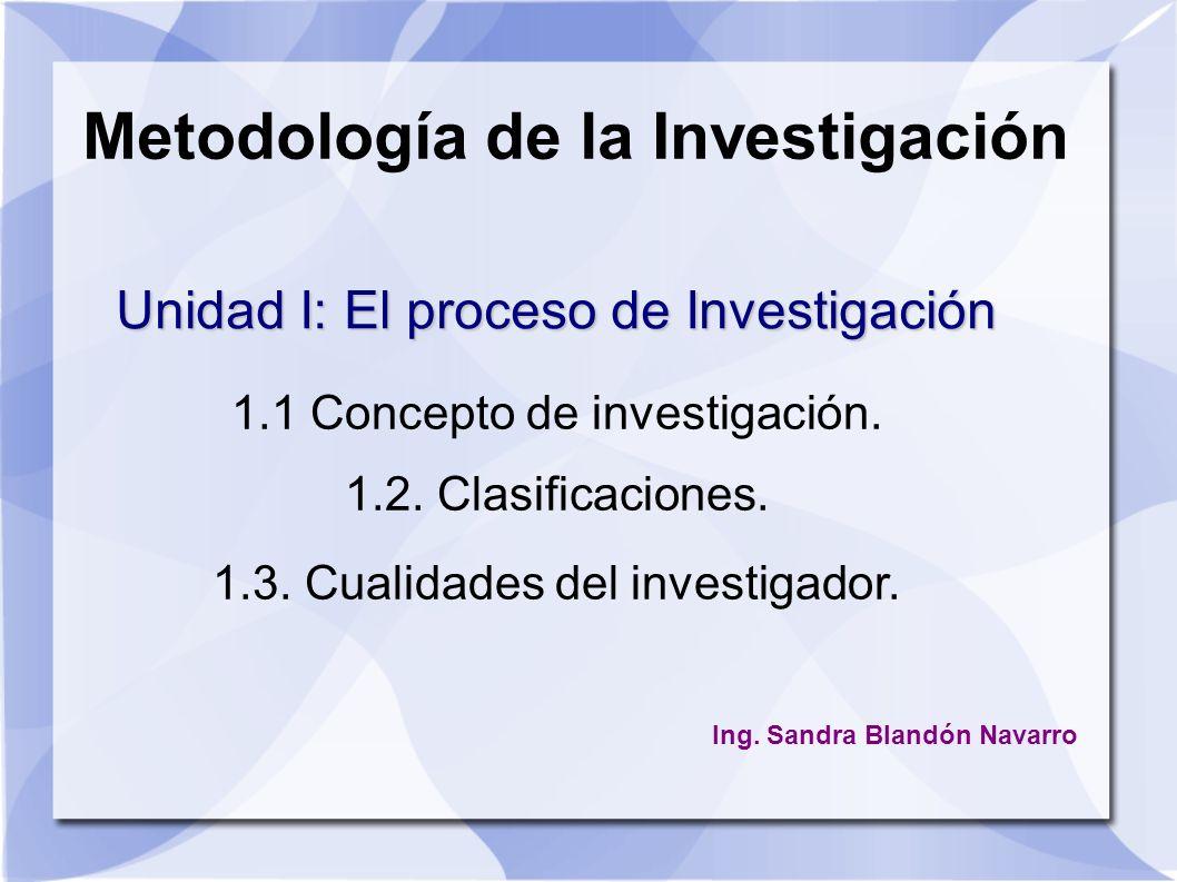 Metodología de la Investigación 1.1 Concepto de investigación. 1.2. Clasificaciones. 1.3. Cualidades del investigador. Unidad I: El proceso de Investi