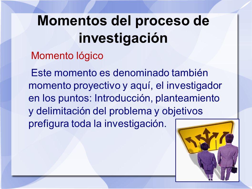 Momentos del proceso de investigación Momento lógico Este momento es denominado también momento proyectivo y aquí, el investigador en los puntos: Intr