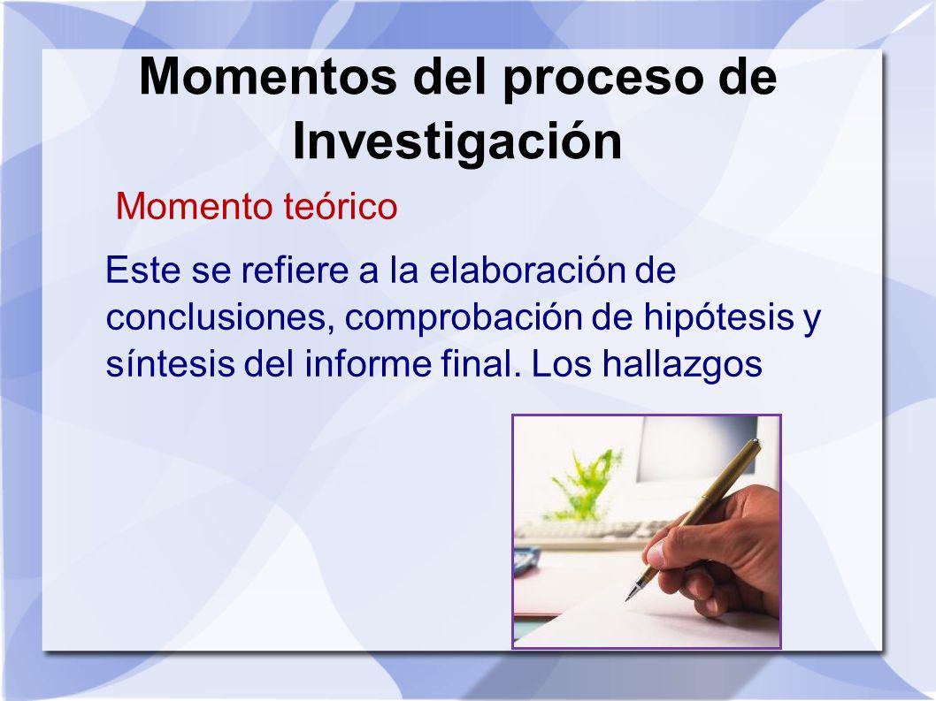 Momentos del proceso de Investigación Momento teórico Este se refiere a la elaboración de conclusiones, comprobación de hipótesis y síntesis del infor