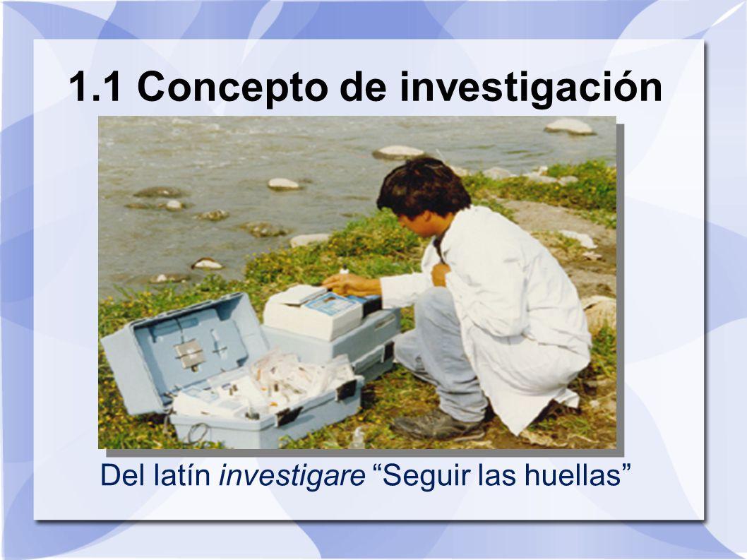 1.1 Concepto de investigación Del latín investigare Seguir las huellas