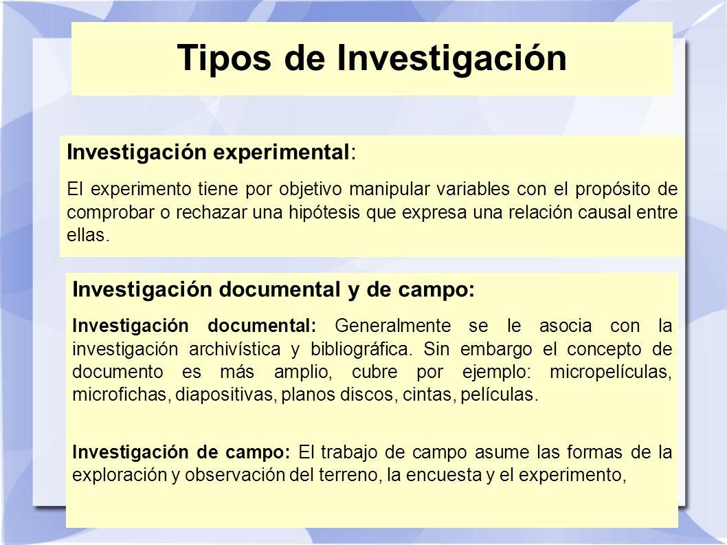 Tipos de Investigación Investigación experimental: El experimento tiene por objetivo manipular variables con el propósito de comprobar o rechazar una
