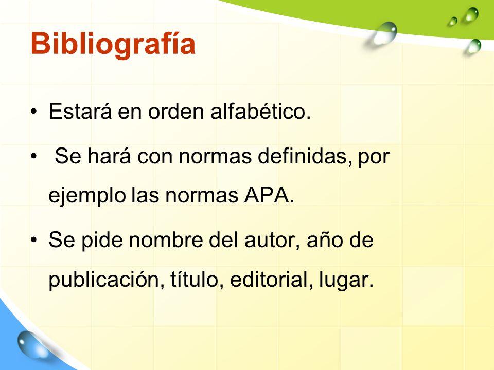 Bibliografía Estará en orden alfabético.Se hará con normas definidas, por ejemplo las normas APA.