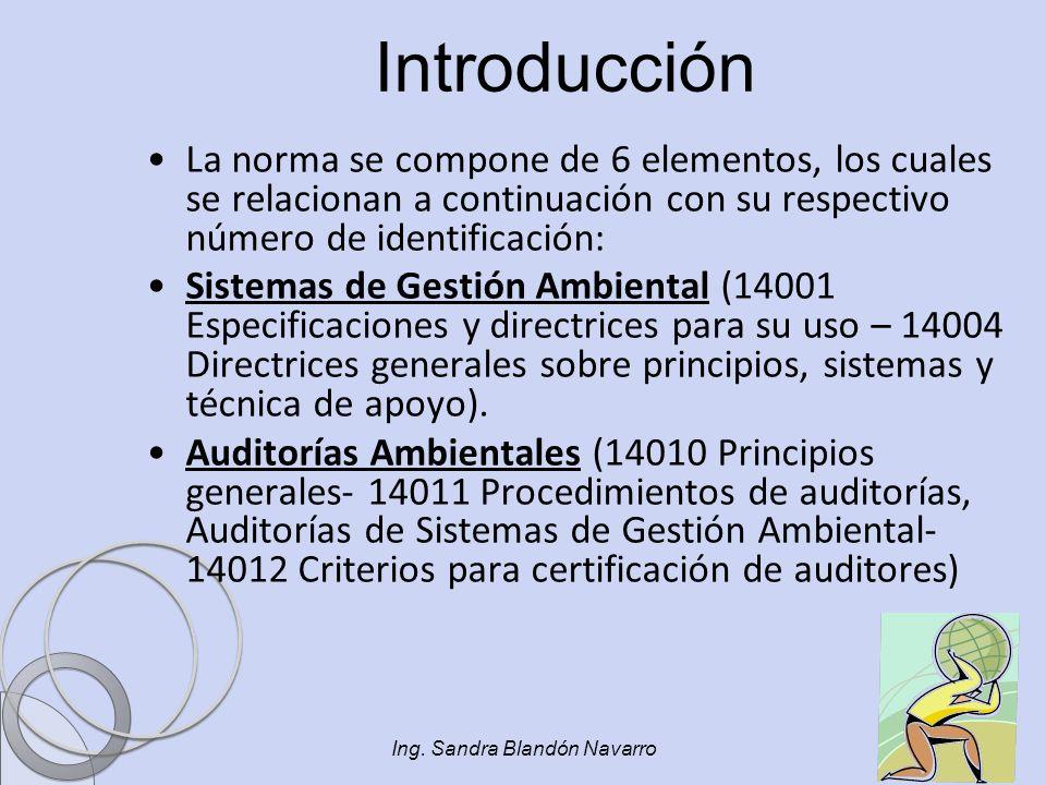 Ing. Sandra Blandón Navarro Introducción La norma se compone de 6 elementos, los cuales se relacionan a continuación con su respectivo número de ident
