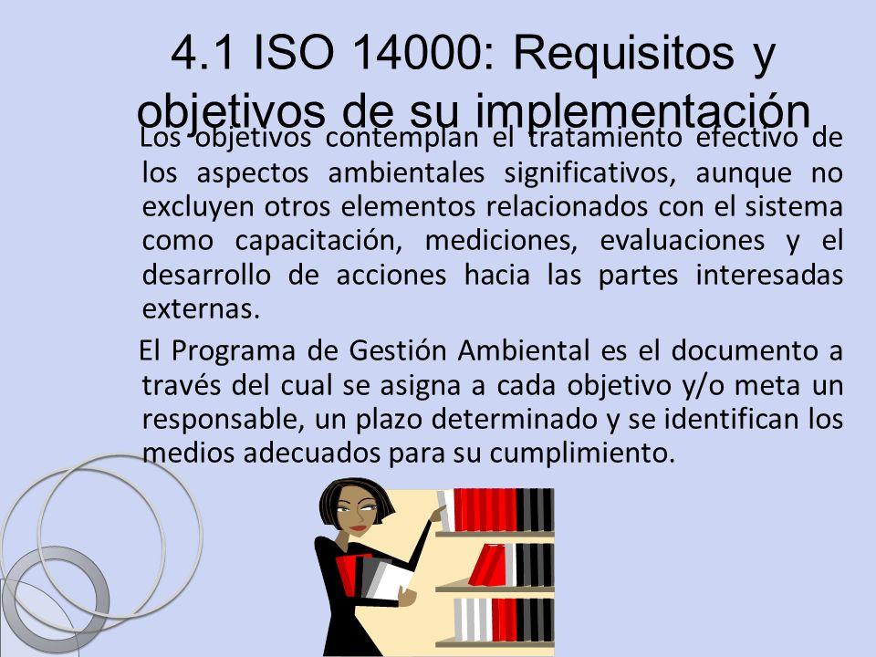 Ing. Sandra Blandón Navarro 4.1 ISO 14000: Requisitos y objetivos de su implementación Los objetivos contemplan el tratamiento efectivo de los aspecto