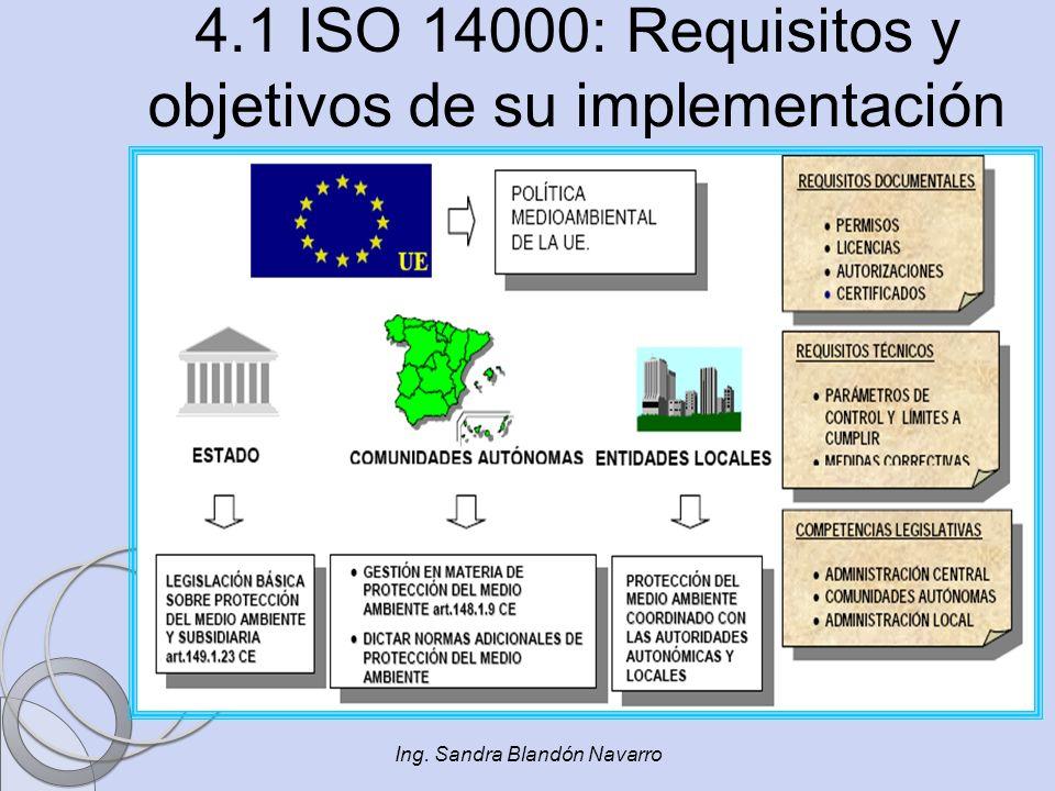 Ing. Sandra Blandón Navarro 4.1 ISO 14000: Requisitos y objetivos de su implementación