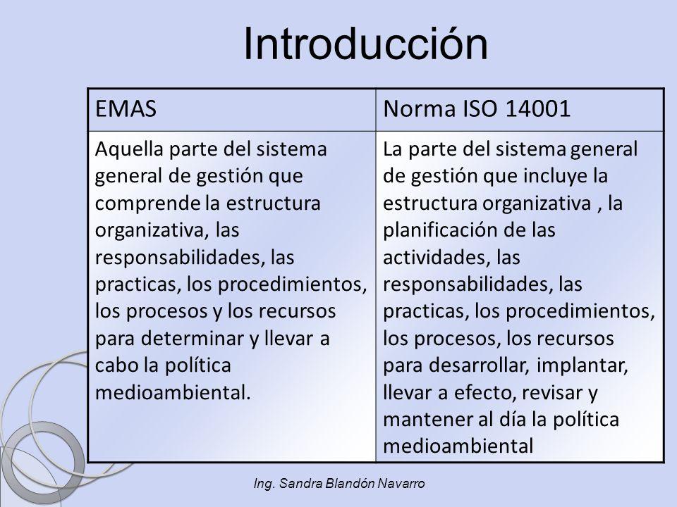 Ing. Sandra Blandón Navarro Introducción EMASNorma ISO 14001 Aquella parte del sistema general de gestión que comprende la estructura organizativa, la