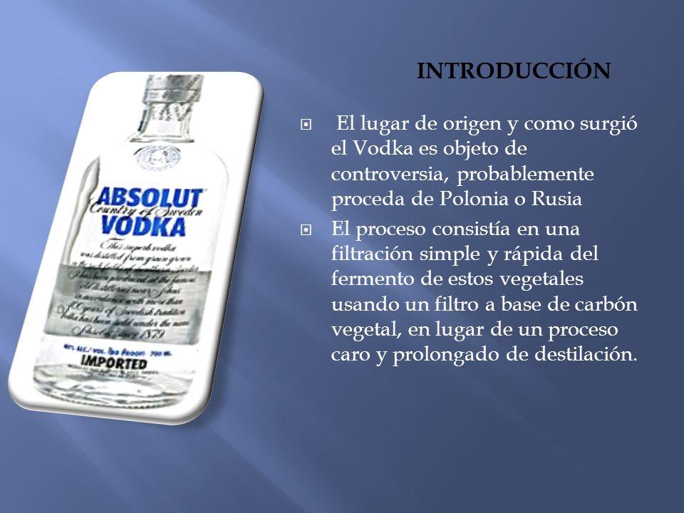 El vodka es una bebida alcohólica elaborada a partir de productos ricos en almidón, generalmente grano de cereales, especialmente de centeno considerado como el mejor, de trigo e incluso patatas o melazas.