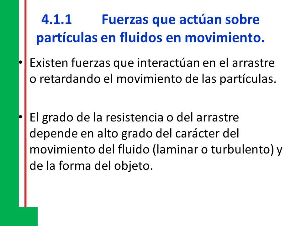 4.1.1Fuerzas que actúan sobre partículas en fluidos en movimiento. Existen fuerzas que interactúan en el arrastre o retardando el movimiento de las pa