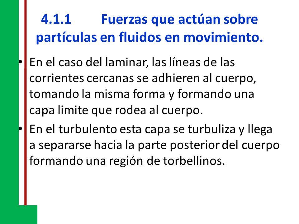 4.1.1Fuerzas que actúan sobre partículas en fluidos en movimiento. En el caso del laminar, las líneas de las corrientes cercanas se adhieren al cuerpo