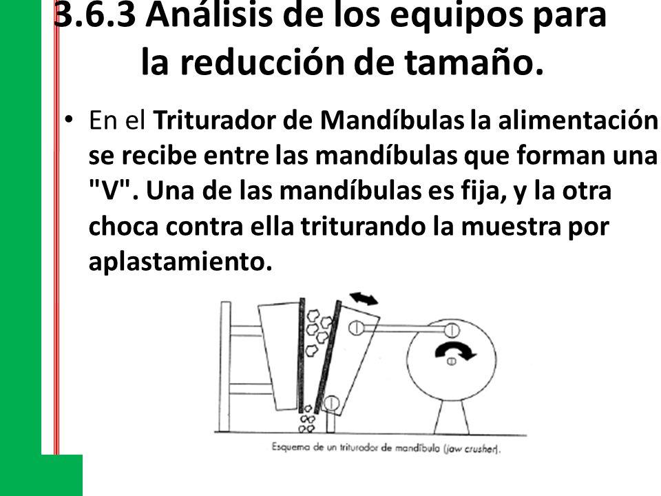 3.6.3 Análisis de los equipos para la reducción de tamaño. En el Triturador de Mandíbulas la alimentación se recibe entre las mandíbulas que forman un