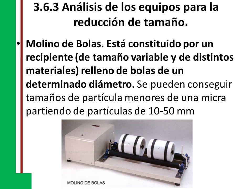 3.6.3 Análisis de los equipos para la reducción de tamaño. Molino de Bolas. Está constituido por un recipiente (de tamaño variable y de distintos mate