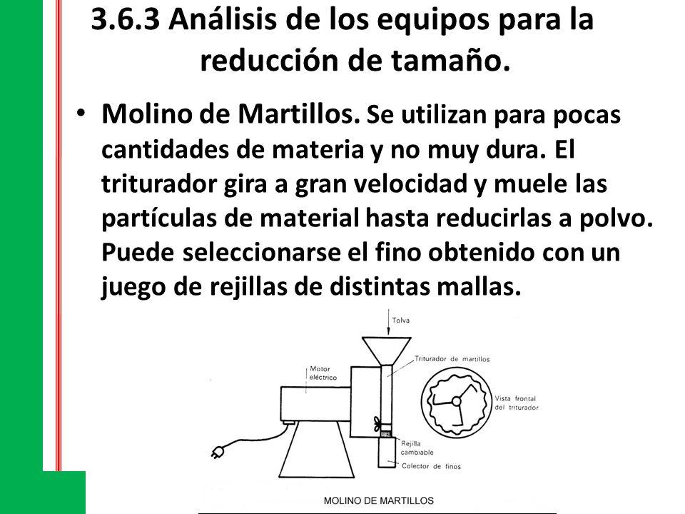 3.6.3 Análisis de los equipos para la reducción de tamaño. Molino de Martillos. Se utilizan para pocas cantidades de materia y no muy dura. El tritura