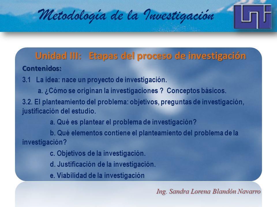 Metodología de la Investigación Unidad III: Etapas del proceso de investigación Contenidos: 3.1 La idea: nace un proyecto de investigación. a. ¿Cómo s