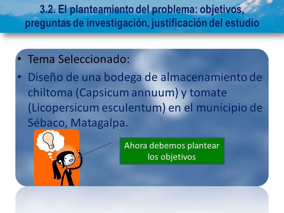 3.2. El planteamiento del problema: objetivos, preguntas de investigación, justificación del estudio Tema Seleccionado: Diseño de una bodega de almace