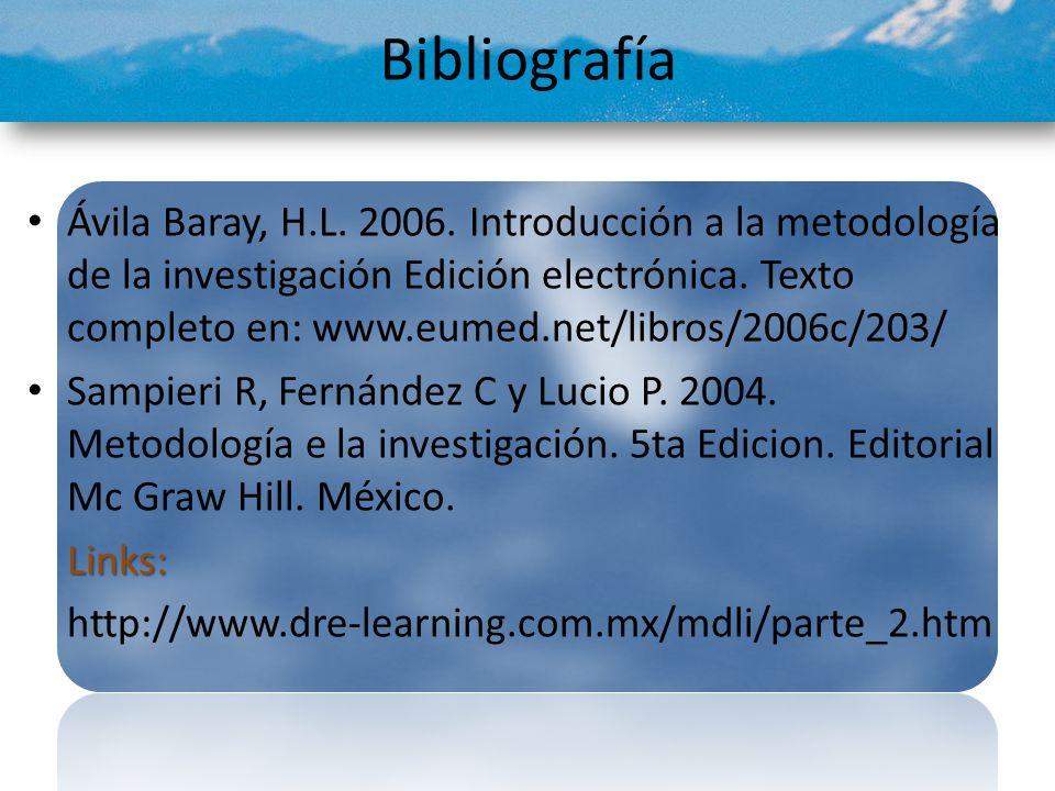 Bibliografía Ávila Baray, H.L. 2006. Introducción a la metodología de la investigación Edición electrónica. Texto completo en: www.eumed.net/libros/20