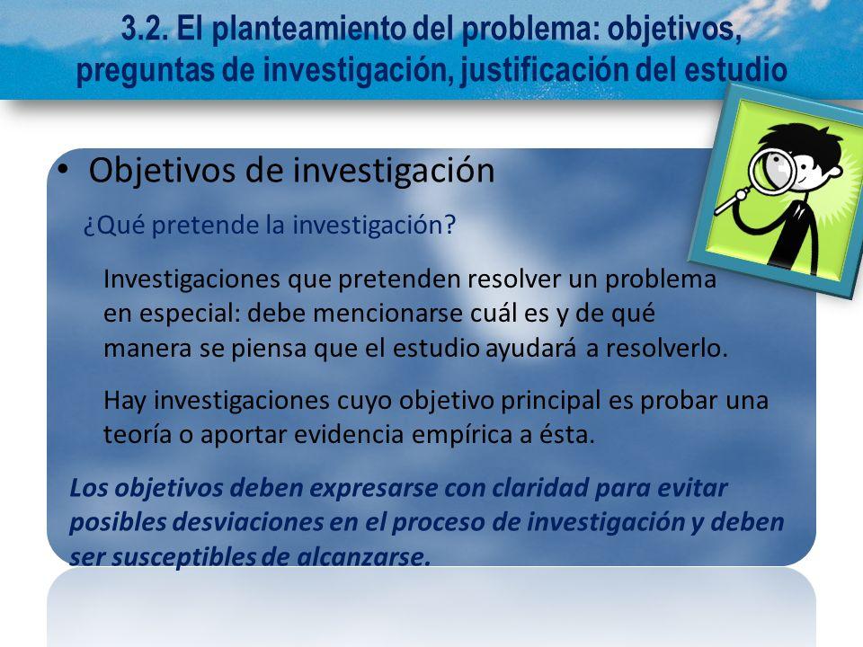 3.2. El planteamiento del problema: objetivos, preguntas de investigación, justificación del estudio Objetivos de investigación ¿Qué pretende la inves