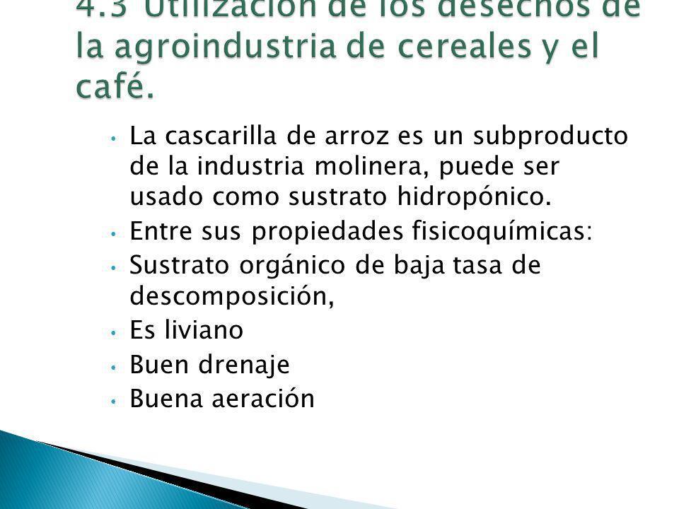 La cascarilla de arroz es un subproducto de la industria molinera, puede ser usado como sustrato hidropónico. Entre sus propiedades fisicoquímicas: Su