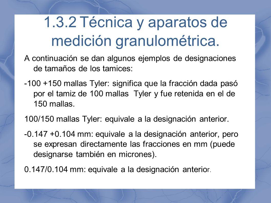 1.3.2Técnica y aparatos de medición granulométrica. A continuación se dan algunos ejemplos de designaciones de tamaños de los tamices: -100 +150 malla