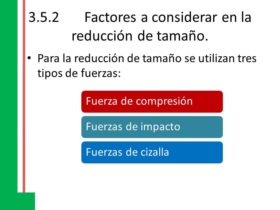 3.5.2Factores a considerar en la reducción de tamaño La cantidad de energía absorbida por un alimento antes de romperse se halla determinada por su grado de dureza y su tendencia a la rotura que depende a su vez de su estructura.