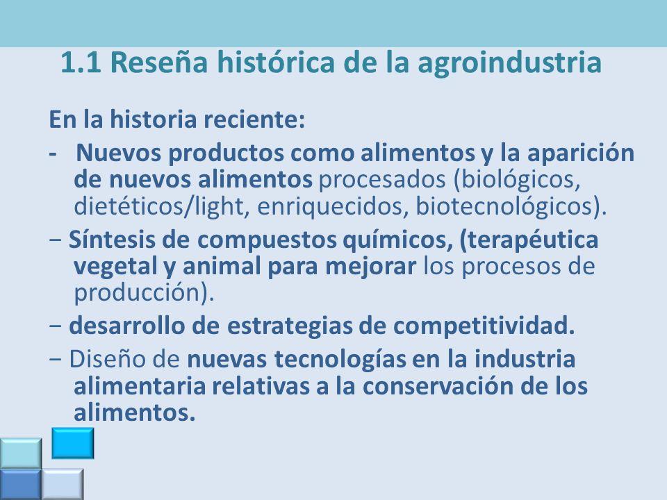 1.1 Reseña histórica de la agroindustria En la historia reciente: - Nuevos productos como alimentos y la aparición de nuevos alimentos procesados (bio