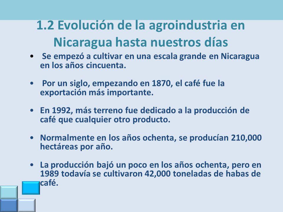 1.2 Evolución de la agroindustria en Nicaragua hasta nuestros días Se empezó a cultivar en una escala grande en Nicaragua en los años cincuenta. Por u