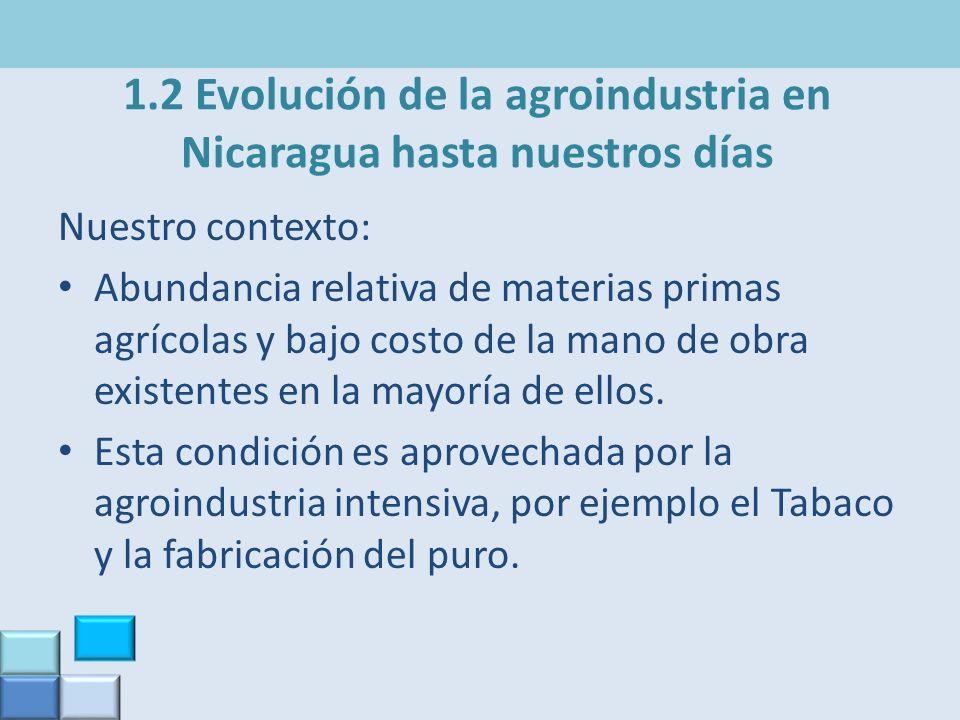 1.2 Evolución de la agroindustria en Nicaragua hasta nuestros días Nuestro contexto: Abundancia relativa de materias primas agrícolas y bajo costo de