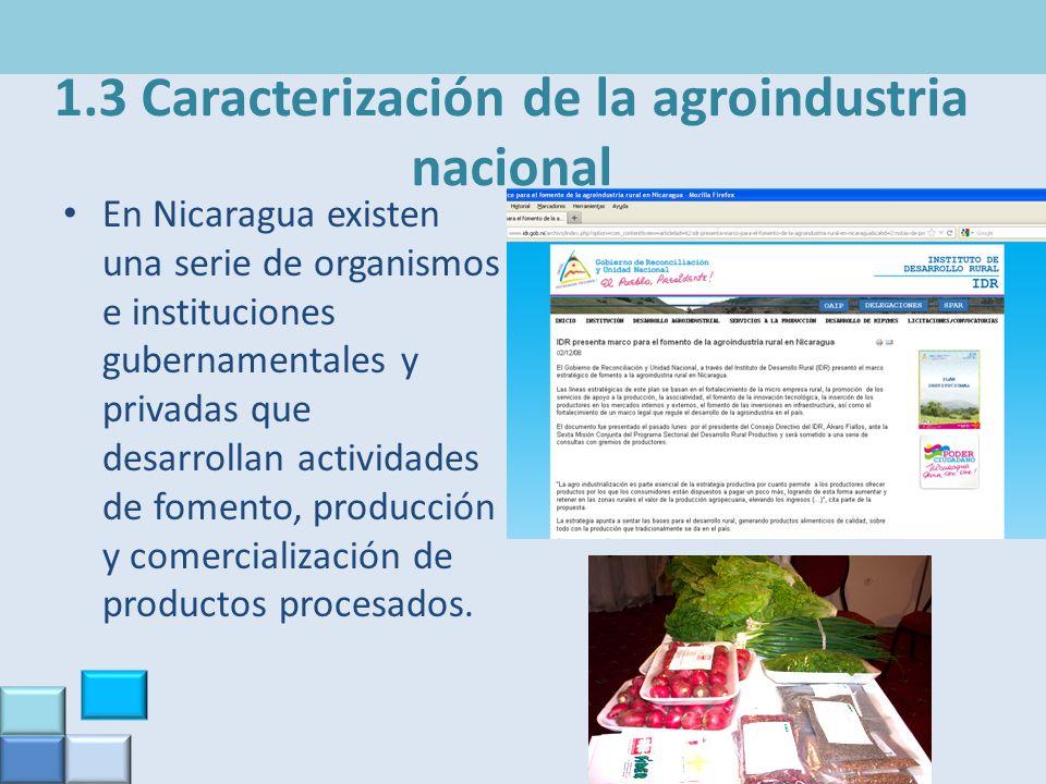 1.3 Caracterización de la agroindustria nacional En Nicaragua existen una serie de organismos e instituciones gubernamentales y privadas que desarroll