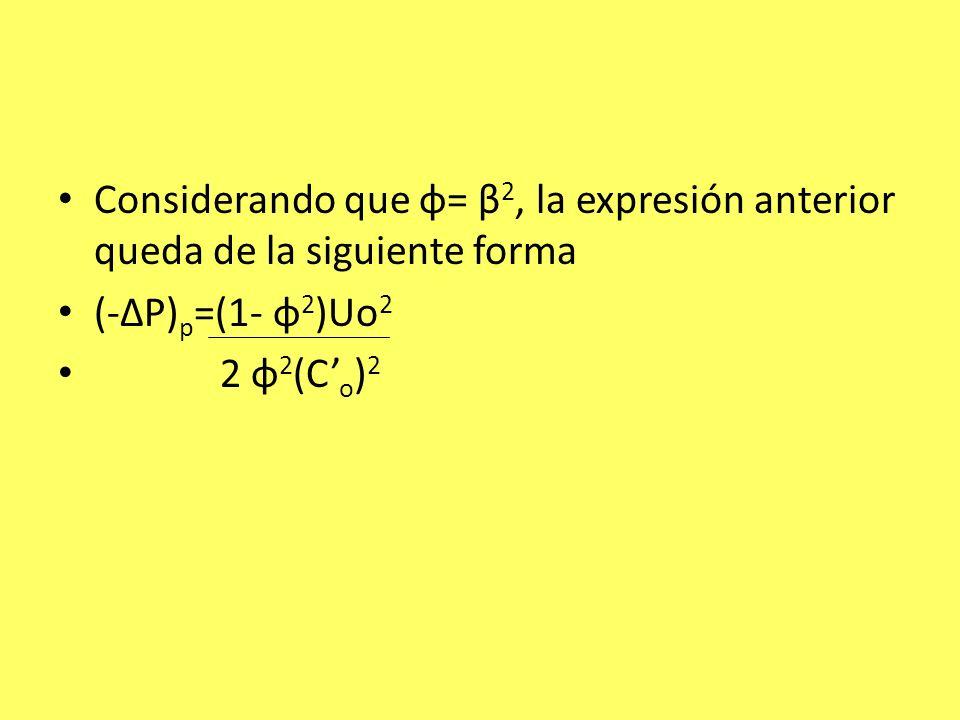 Considerando que φ= β 2, la expresión anterior queda de la siguiente forma (-ΔP) p =(1- φ 2 )Uo 2 2 φ 2 (C o ) 2