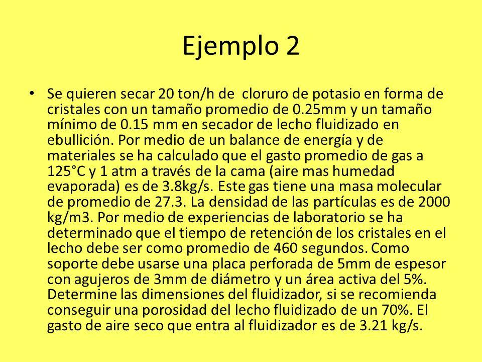Ejemplo 2 Se quieren secar 20 ton/h de cloruro de potasio en forma de cristales con un tamaño promedio de 0.25mm y un tamaño mínimo de 0.15 mm en seca