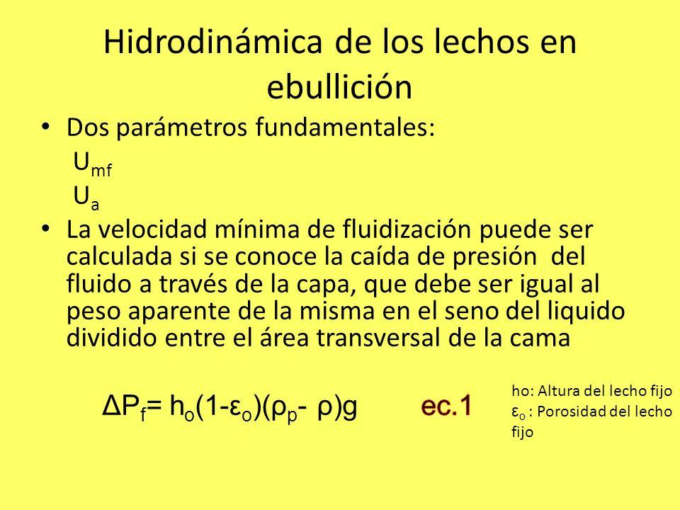 Hidrodinámica de los lechos en ebullición ho: Altura del lecho fijo ε o : Porosidad del lecho fijo