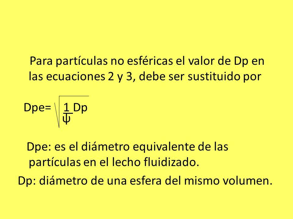 Para partículas no esféricas el valor de Dp en las ecuaciones 2 y 3, debe ser sustituido por Dpe= 1 Dp ψ Dpe: es el diámetro equivalente de las partíc
