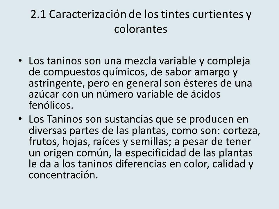 2.1 Caracterización de los tintes curtientes y colorantes Los taninos son una mezcla variable y compleja de compuestos químicos, de sabor amargo y ast