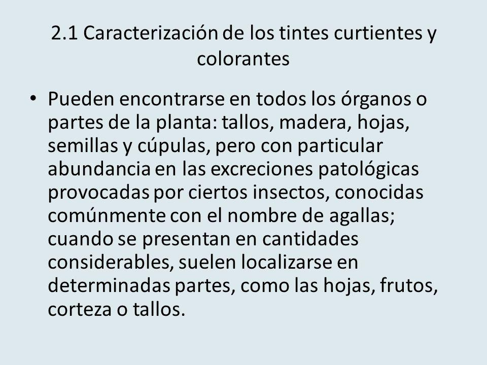 2.1 Caracterización de los tintes curtientes y colorantes Pueden encontrarse en todos los órganos o partes de la planta: tallos, madera, hojas, semill