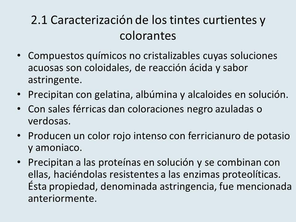 2.1 Caracterización de los tintes curtientes y colorantes Compuestos químicos no cristalizables cuyas soluciones acuosas son coloidales, de reacción á