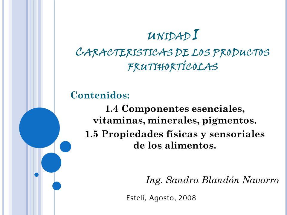 U NIDAD I C ARACTERISTICAS DE LOS PRODUCTOS FRUTIHORTÍCOLAS Contenidos: 1.4 Componentes esenciales, vitaminas, minerales, pigmentos.