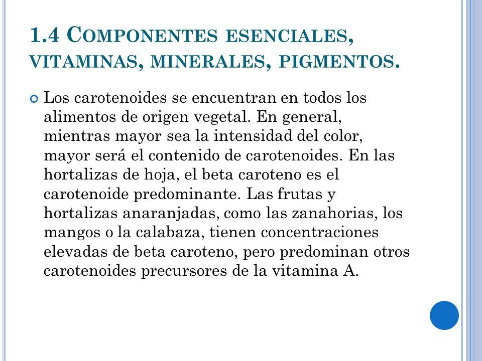 1.4 C OMPONENTES ESENCIALES, VITAMINAS, MINERALES, PIGMENTOS.