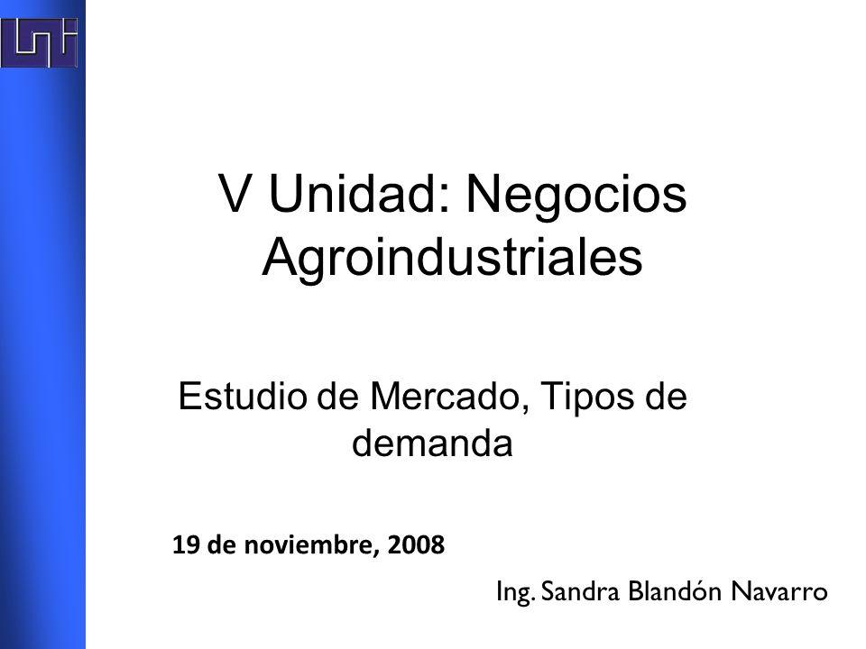 V Unidad: Negocios Agroindustriales Estudio de Mercado, Tipos de demanda Ing. Sandra Blandón Navarro 19 de noviembre, 2008