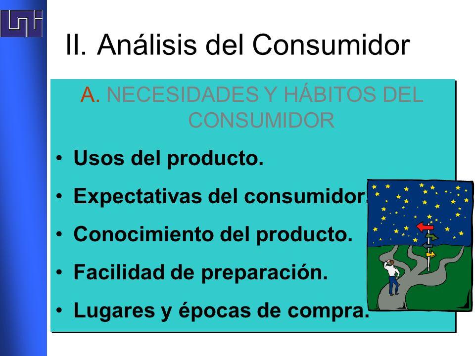 II. Análisis del Consumidor A. NECESIDADES Y HÁBITOS DEL CONSUMIDOR Usos del producto. Expectativas del consumidor. Conocimiento del producto. Facilid