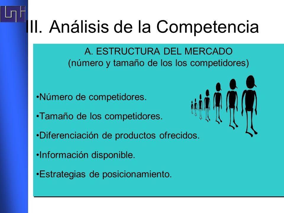 III. Análisis de la Competencia A. ESTRUCTURA DEL MERCADO (número y tamaño de los los competidores) Número de competidores. Tamaño de los competidores