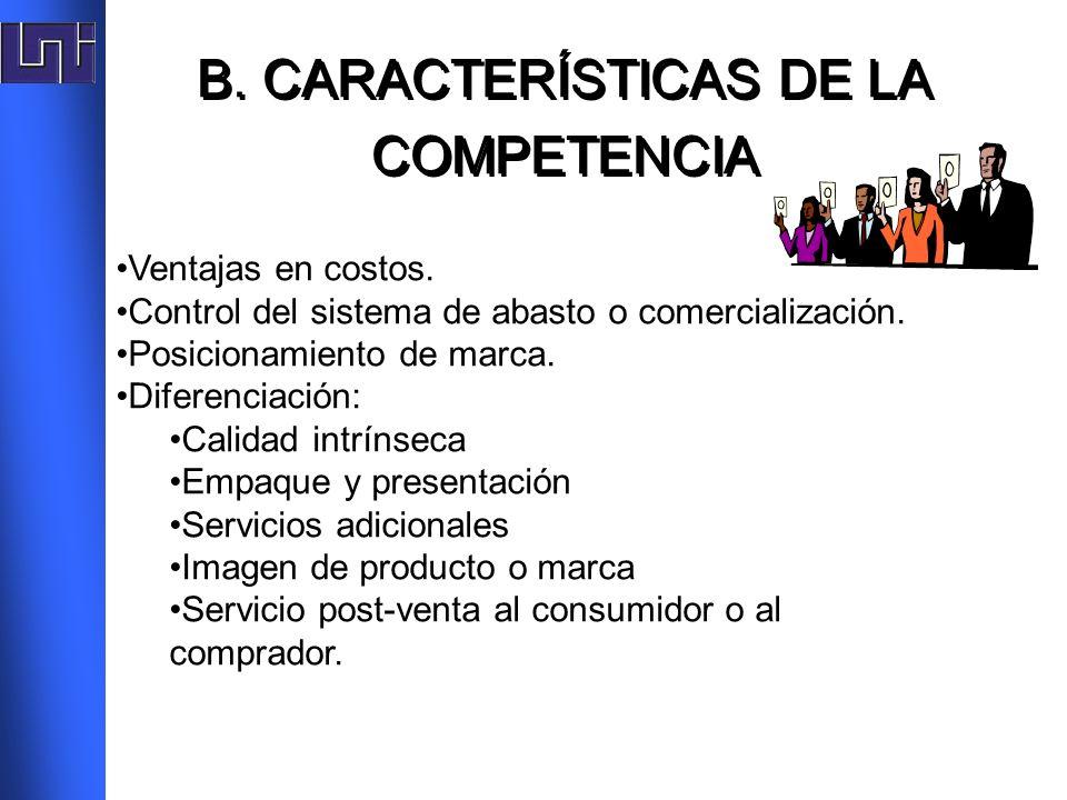 B. CARACTERÍSTICAS DE LA COMPETENCIA B. CARACTERÍSTICAS DE LA COMPETENCIA Ventajas en costos. Control del sistema de abasto o comercialización. Posici