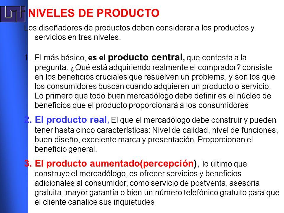 NIVELES DE PRODUCTO Los diseñadores de productos deben considerar a los productos y servicios en tres niveles. 1.El más básico, es el producto central