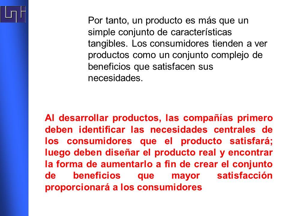 Por tanto, un producto es más que un simple conjunto de características tangibles. Los consumidores tienden a ver productos como un conjunto complejo