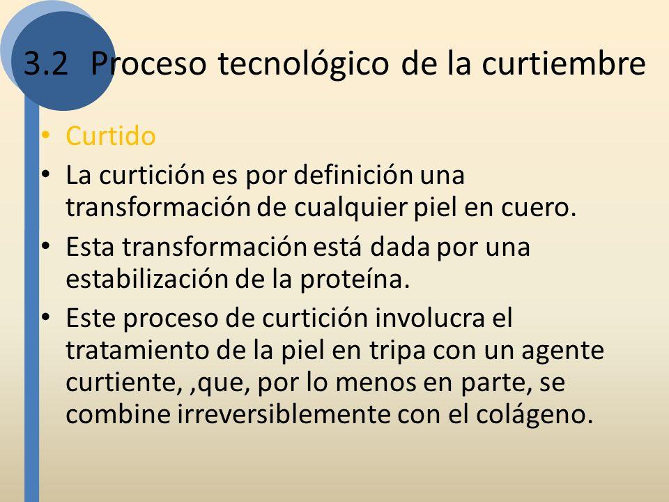 3.2Proceso tecnológico de la curtiembre Curtido La curtición es por definición una transformación de cualquier piel en cuero. Esta transformación está